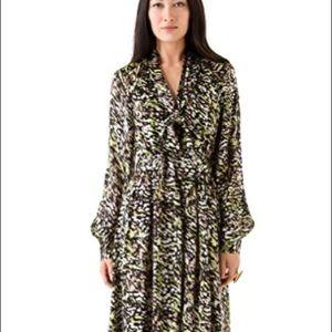 An abstract print splashes silk gown Rachel Zoe